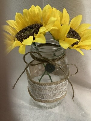 QUART MASON JAR UNPAINTED WITH LACE, FLOWERS AND CHARM