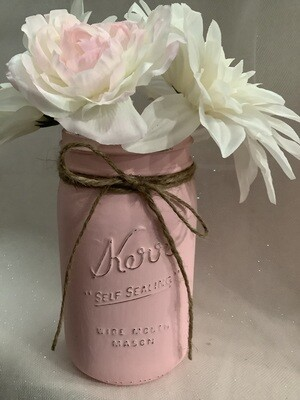 QUART MASON JAR PINK WITH FLOWERS