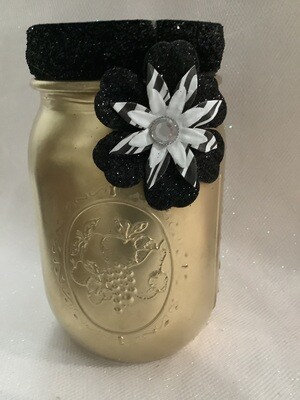 PINT MASON JAR GOLD WITH BLACK FLOWER