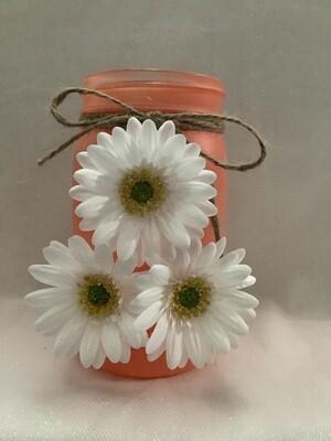 QUART MASON JAR PEACH WITH FLOWERS