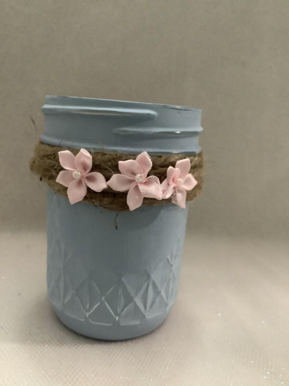 HALF PINT MASON JAR LIGHT BLUE W/FLOWERS