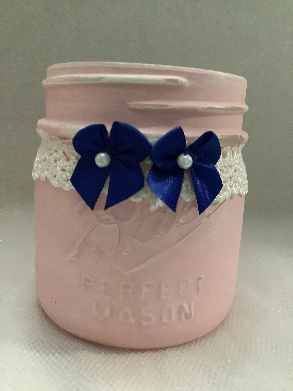 HALF PINT MASON JAR PINK WITH BOWS