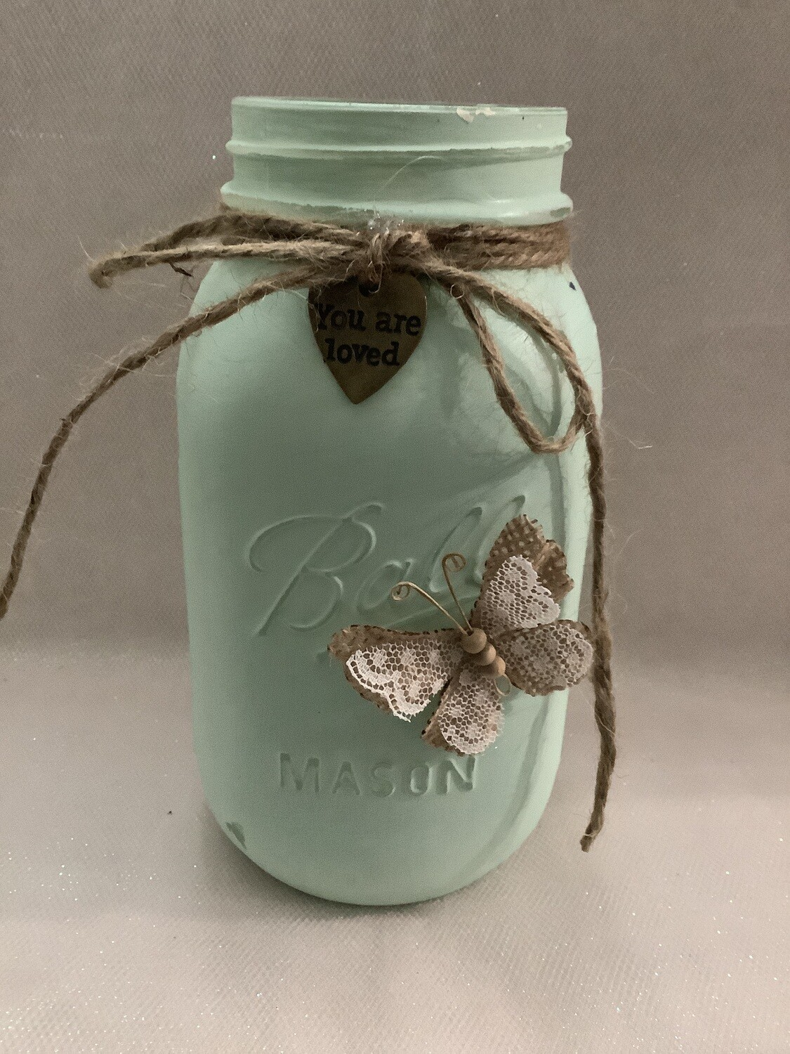 QUART JAR GREEN W/CHARM AND BUTTERFLY