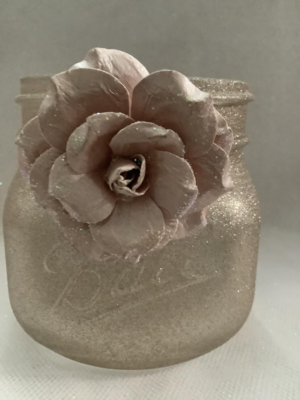 HALF QUART MASON JAR ROSE W/FLOWER