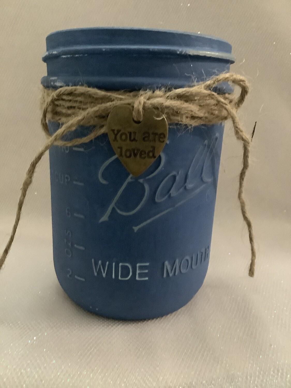MASON JAR BLUE WITH CHARM