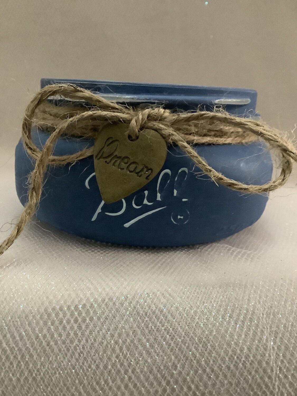 SMALL MASON JAR BLUE WITH CHARM