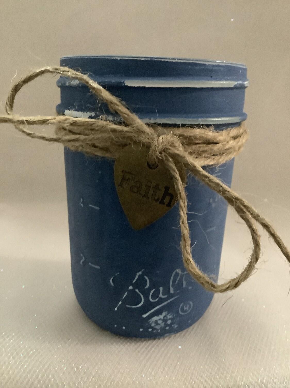 HALF PINT BLUE MASON JAR WITH CHARM