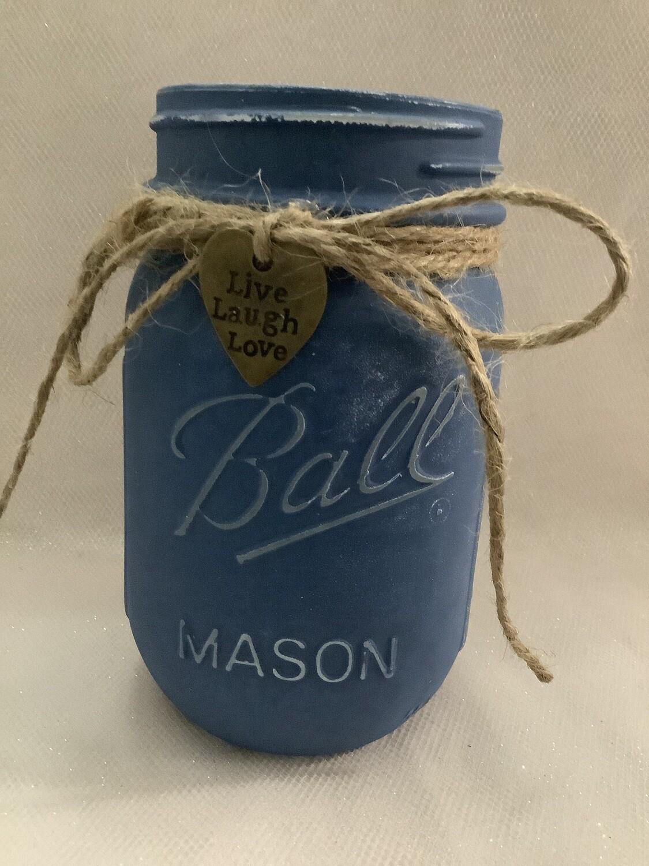PINT MASON JAR BLUE WITH CHARM