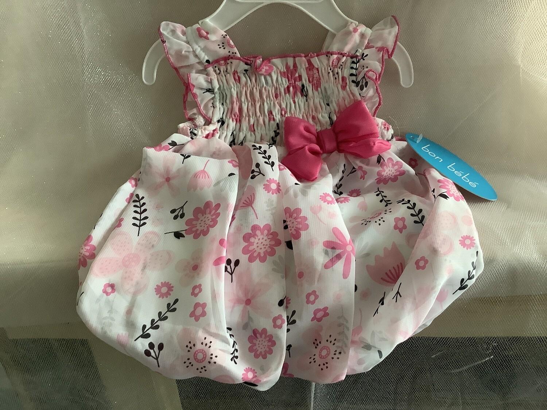 CHIFFON BUBBLE DRESS PINK 6-9 MONTHS