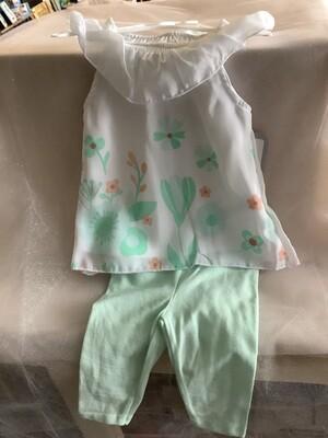 FLORAL CHIFFON DRESS & LEGGINGS MINT GREEN 0-3 MONTHS