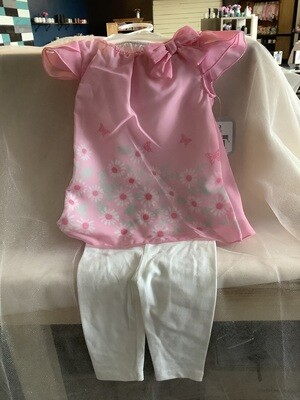 FLORAL CHIFFON DRESS & LEGGINGS-PINK BUTTERFLIES 0-3 MONTHS
