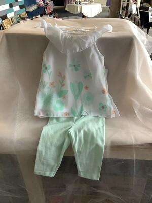 FLORAL CHIFFON DRESS & LEGGINGS MINT GREEN 6-9 MONTHS