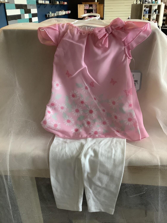 FLORAL CHIFFON DRESS & LEGGINGS-PINK BUTTERFLIES 3-6 MONTHS