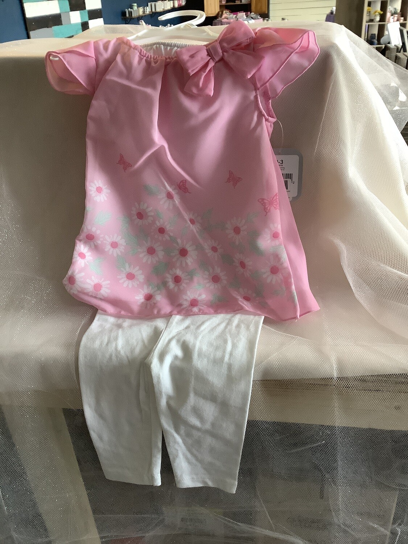 FLORAL CHIFFON DRESS & LEGGINGS-PINK BUTTERFLIES 6-9 MONTHS