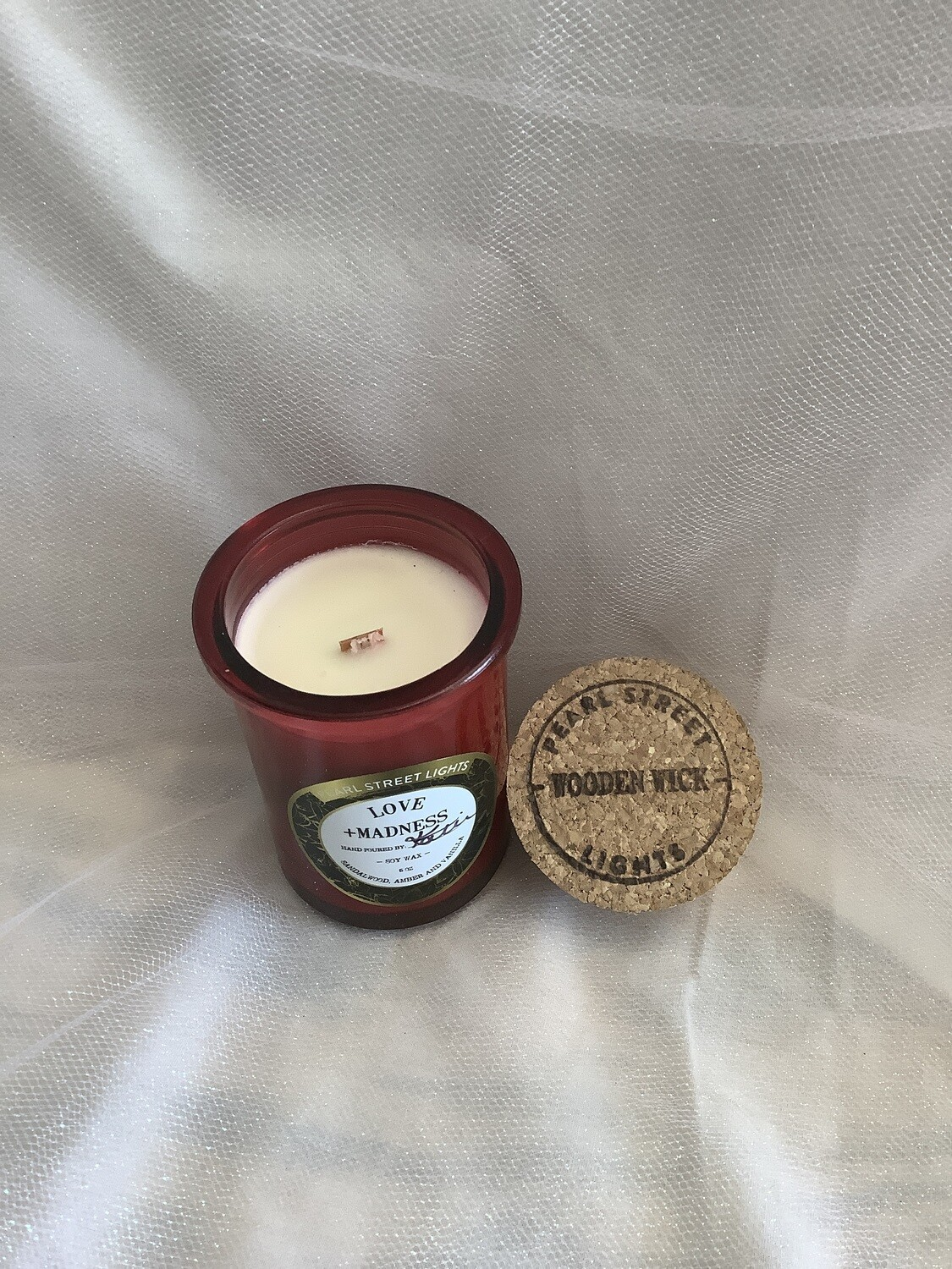 love + madness crackling wooden wick candle