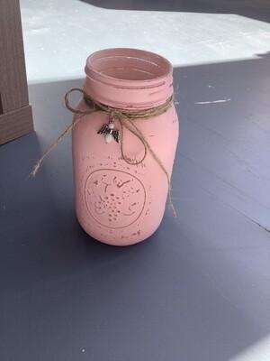 WIDE MOUTH QUART MASON JAR PINK W/CHARM