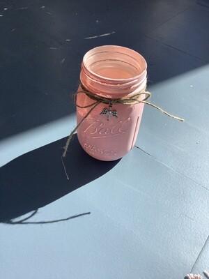 PINT MASON JAR PINK W/CHARM
