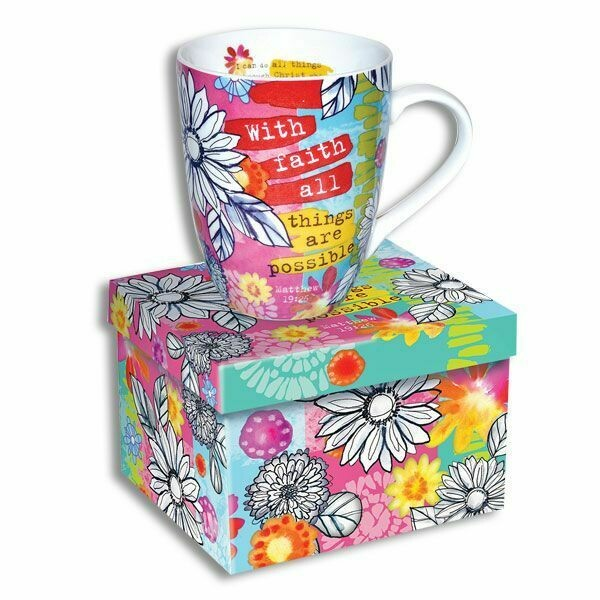 MUG W/MATCHING BOX WITH FAITH ALL THINGS ARE POSSIBLE-12OZ