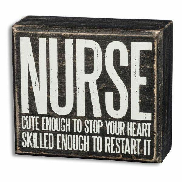 BOX SIGN NURSE CUTE/HEART