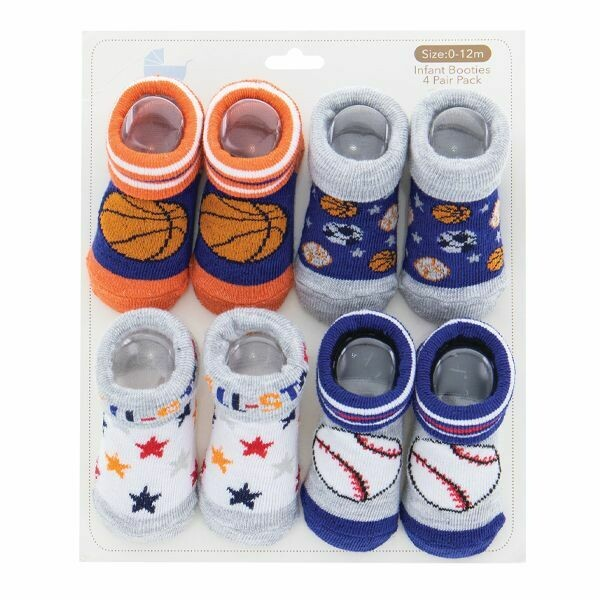4-PAIR INFANT BOOTIES--SPORTS
