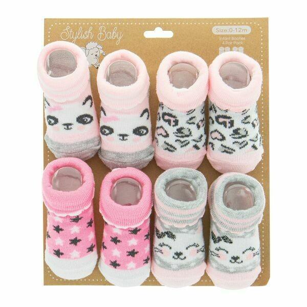 4-PACK BOOTIES PANDA/KITTY
