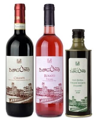 Offerta 3 prodotti: Borgunto Chianti - Rosato - Olio Evo