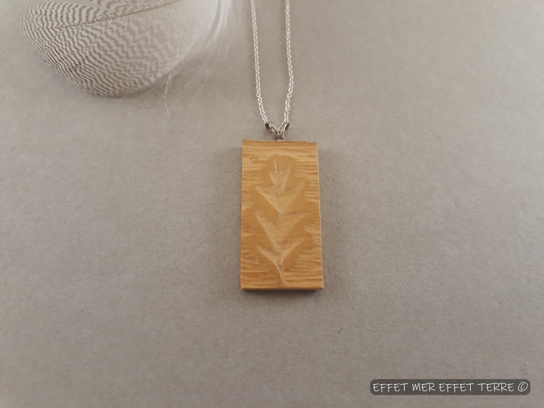 Pendentif rectangle bois feuille chêne