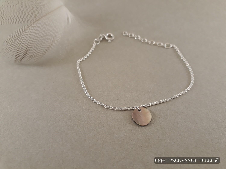 Bracelet argent pastille nacre grise
