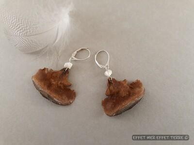 Boucles d'oreille cèdre du Liban et perle nacre