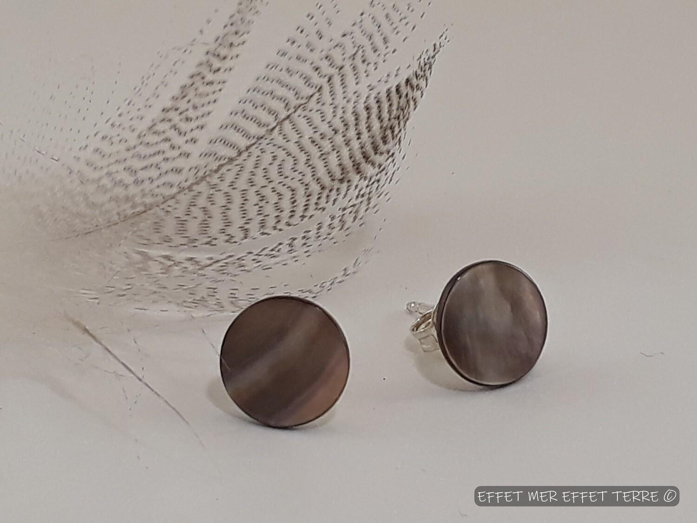 Boucles d'oreille nacre grise