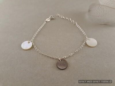 Bracelet argent 3 pastilles de nacre