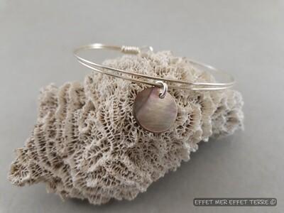 Bracelet en argent double fil et nacre grise
