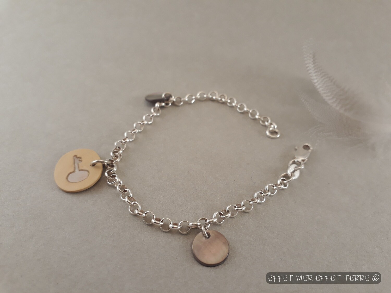 Bracelet argent et marqueterie clé