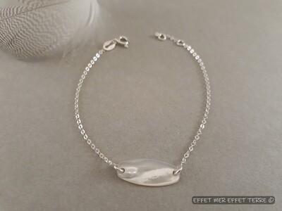 Bracelet argent gourmette nacre blanche