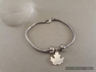 Bracelet argent 925 feuille érable nacre