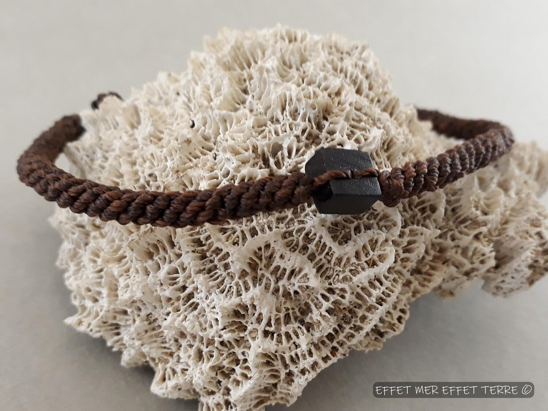 Bracelet macramé et carré ébène