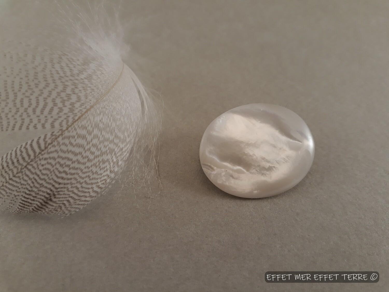 Broche ovale nacre blanche