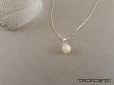Pedentif perle moyenne nacre blanche