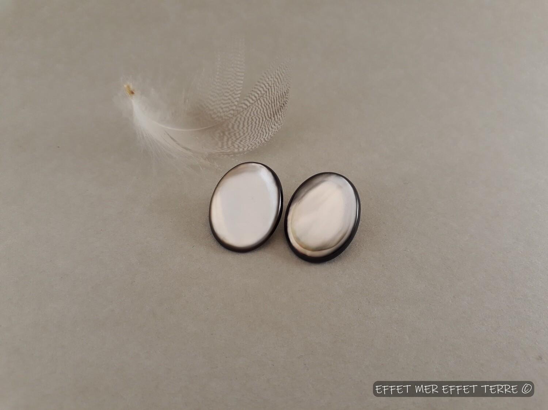 Clip boucles d'oreille ovales nacre grise