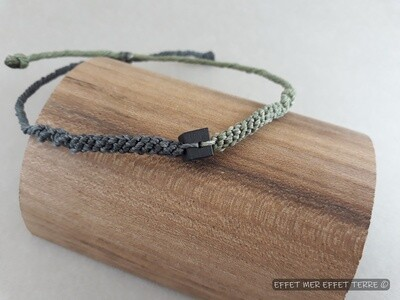 Bracelet macramé  vert, gris et ébène