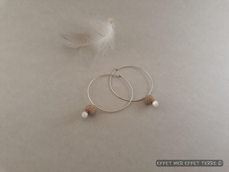Créoles mini cupules gland et perle nacre blanche