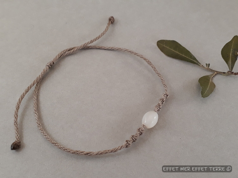 Bracelet macramé beige olive nacre blanche
