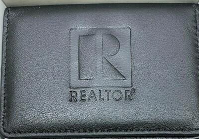 Business Card Case Realtor Embossed - Black Leather
