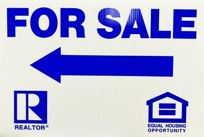 12x18 For Sale (BLUE) w/Fair Housing/REALTOR logos