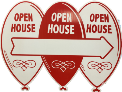 Balloon Sign Open House Red