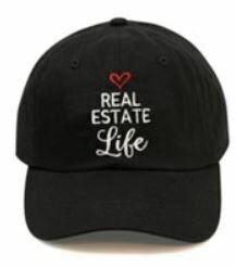 "Baseball Caps - BLACK ""REAL ESTATE LIFE"""