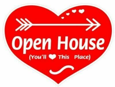 OPEN HOUSE - HEART SHAPE SIGN