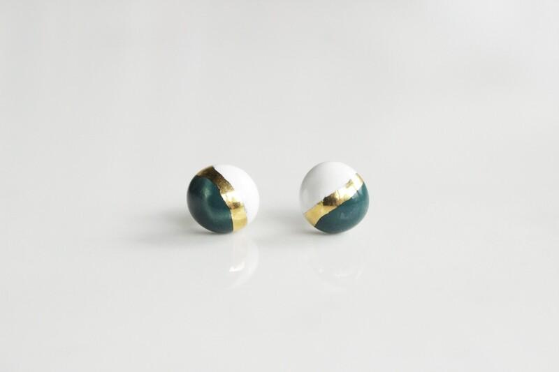 Jade/white  CANDY studs