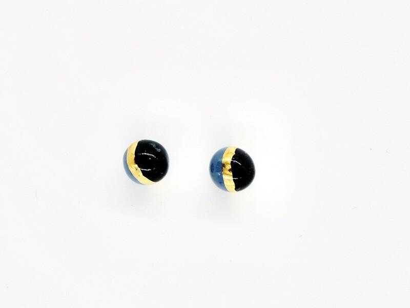 Blue black BUBBLE studs