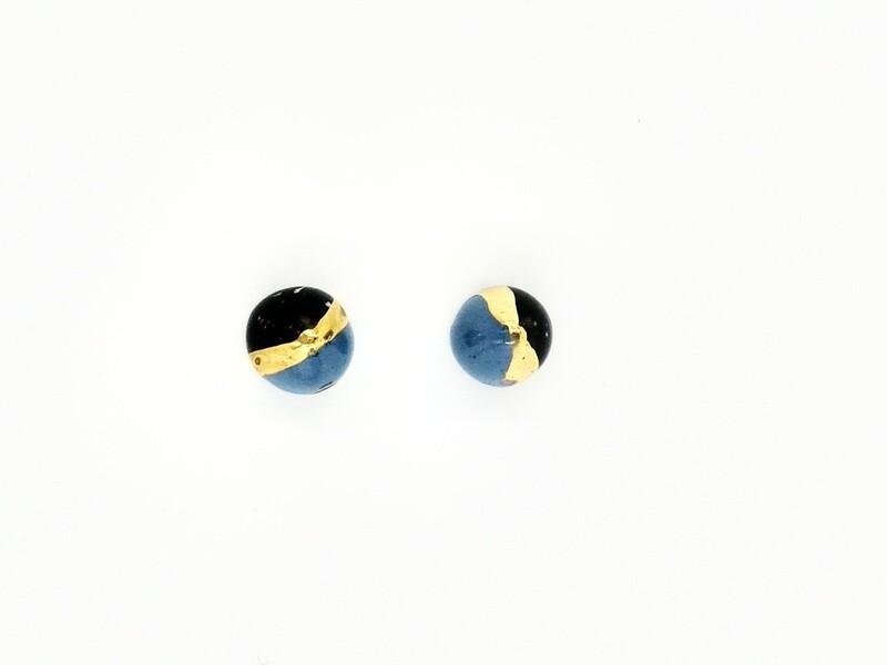 Blue&black CONE studs, small